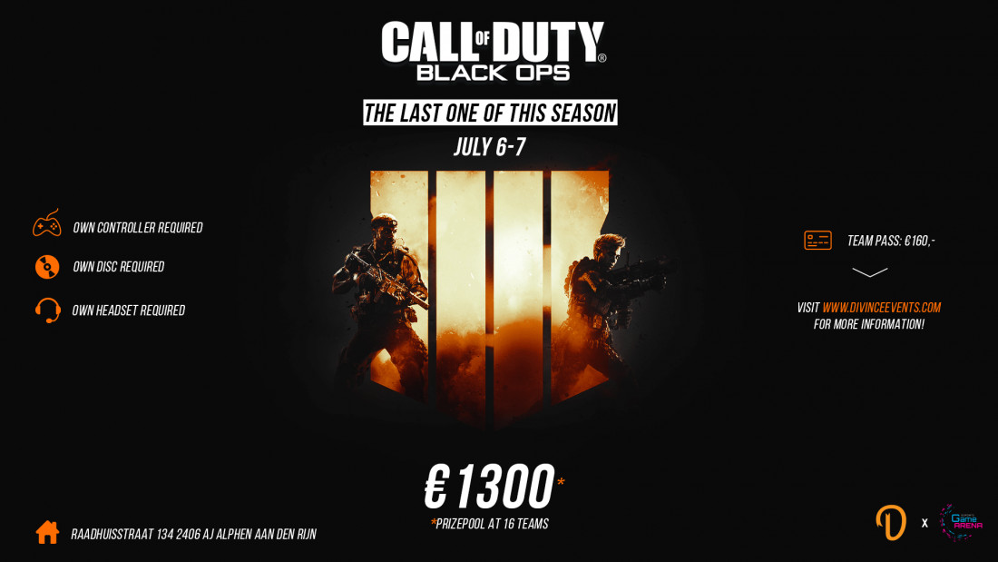 Divince Events Call of Duty: Black Ops 4  LAN event July 7